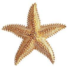MONET signed Starfish Goldtone Pin Brooch