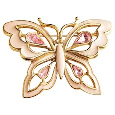 TRIFARI signed Pink Butterfly Pin Brooch with Pretty Pink Rhinestones