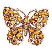 Sparkling Butterfly Goldtone Brooch with Pretty Light Brown and Yellow Rhinestones