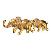 AAI signed Mommy and Baby Elephant Brooch with Rhinestones