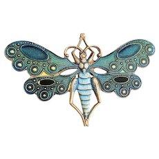 Enameled Blue Dragonfly Brooch