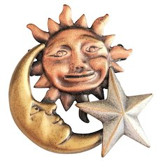 K&T signed Star, Moon and Sun Brooch