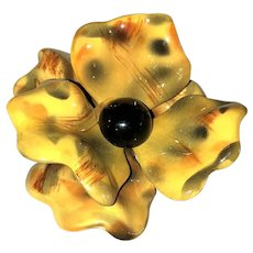 Large Yellow and Brown Acrylic Flower Pin Brooch