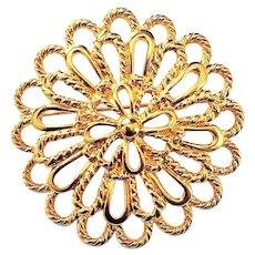 NAPIER signed Pretty Goldtone Flower Pin Brooch