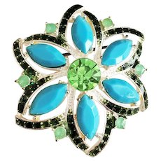 Pretty Flower Silvertone Flower Broochwith Green and Turquoise Accents