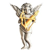 JJ signed Pewter Cherub Pin Brooch with a Goldtone Bow and Arrow