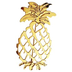 Fun Pineapple Goldtone Pin Brooch