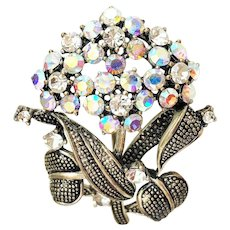 Sparkling Rhinestone Flower Cluster Brooch with Pretty Leaves