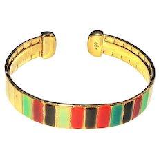 LIZ CLAIBORNE  signed Colorful Enamel on Goldtone Cuff Bracelet
