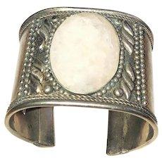 Wide Southwestern Designed Silvertone Cuff Bracelet with Pretty Polished Stone