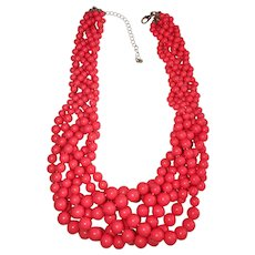 Multi Strand Weaved Pink Coral Color Acrylic Necklace