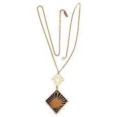 Sunburst Brown and Black Designed Necklace