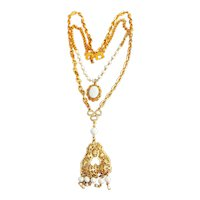 Multi Strand Pendant Goldtone Necklace with Pretty White Bead Accents