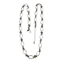 LIA SOPHIA - Long Oval Linked Silvertone Necklace with a Pretty Sparkling Round Accents
