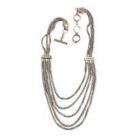 Multi Strand Silvertone Chain Necklace with Pretty Sparkling Rhinestones