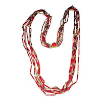 Multi Strand Red Tube Beaded Necklace with Pretty Goldtone Chains