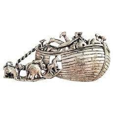 AJC signed Noah's Ark Silvertone Pin Brooch
