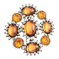 Flower Silvertone Brooch with Pretty Amber Color Accents
