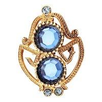 Beautiful Blue Rhinestones and Goldtone Brooch