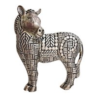 Cute Donkey Silvertone Brooch with Pretty Etched Design