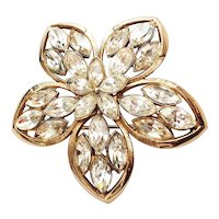 KRAMER - Goldtone Flower Pin Brooch with Sparkling Clear Rhinestones