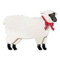 JJ signed White Enameled Sheep Brooch
