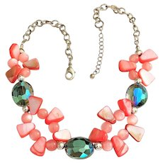 Polished Pink Shell and Silvertone Necklace with Green Glass Beads