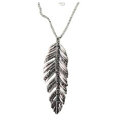Pretty Leaf Pendant Silvertone Necklace with Sparkling Rhinestones