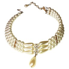Three Strand Faux Pearl Choker Necklace with Pretty Rhinestones