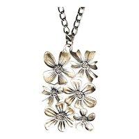 JJ signed Flower Cluster Pewter Pendant Necklace