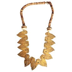 Hinged Brass Leaves Necklace with Pretty Beads