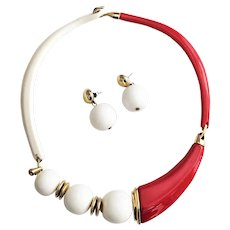 TRIFARI signed Red and White Necklace with Matching Pierced Earrings