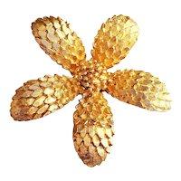 Beautiful Flower Goldtone Brooch