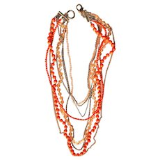 Multi Strand Orange Beaded and Goldtone Necklace