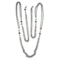 Multi Strand Silvertone Chain Necklace with Pretty Pastel Color Beads