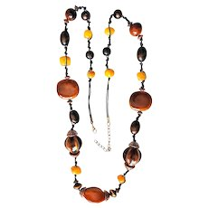 Brown Ceramic Beaded Necklace with Pretty Bead Accents