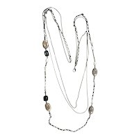 Multi Strand Silvertone Chain Necklace with Pretty Black and Gray Beads