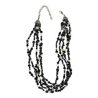 Multi Strand Black and Clear Glass Beaded Necklace
