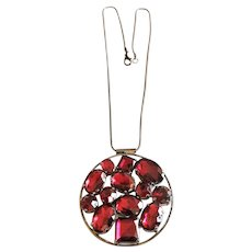 Dark Silver Circle Pendant Necklace with Pretty Sparkling Maroon Beads
