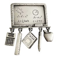 JJ signed Pewter Chalkboard Brooch with Dangling Charms