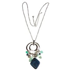 Double Circle Silvertone Pendant Necklace with Pretty Blue Beads