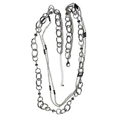 Multi Strand Silvertone Chain Necklace with Pretty Silver and Black Beads