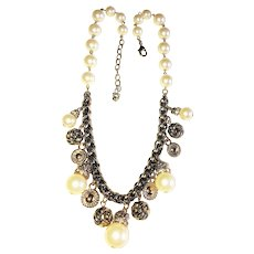 Cream Color Faux Pearl and Goldtone Necklace with Rhinestone Drops