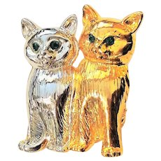 Two Sitting Kitty Cats Brooch with Pretty Green Rhinestone Eyes