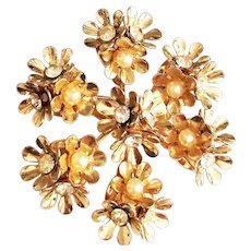 CORO signed Flower Cluster Goldtone Brooch with Rhinestones and Faux Pearls