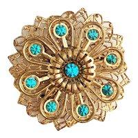Filigree Flower Goldtone Pin Brooch with Pretty Sparkling Blue Rhinestones