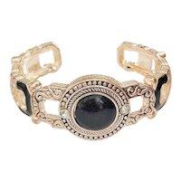 Black Enamel and Silvertone Cuff Bracelet with Black Center and Rhinestones