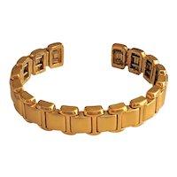 MONET signed Brushed Goldtone Cuff Bracelet