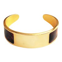 Polished Goldtone Cuff Bracelet with Pretty Brown Marbled Sides