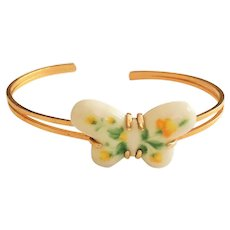 AVON signed Ceramic Butterfly Cuff Bracelet with Pretty Yellow Flowers